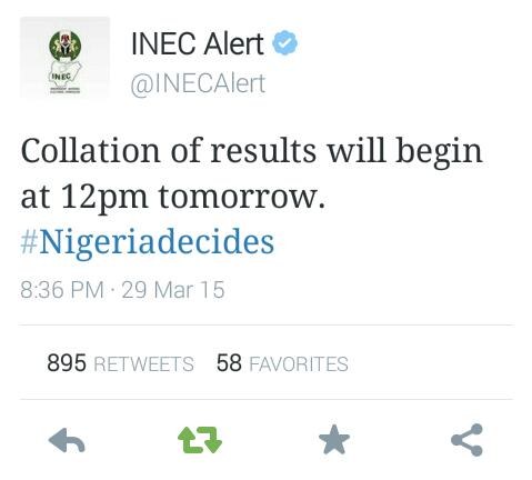INEC To Begin Full Collation Of Results By 12pm Tomorrow #Nigeria2015